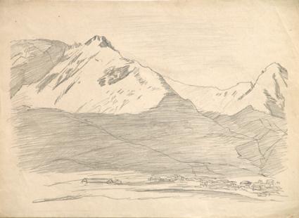 горы кавказа рисунок детские